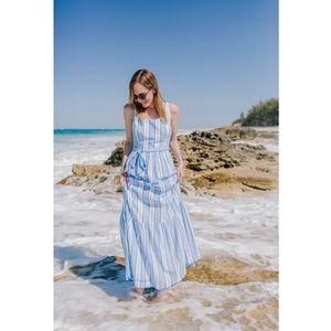 NWOT Vinyard Vines womens blue striped maxi dress